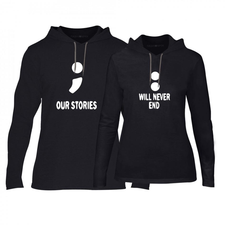 Φούτερ για ζευγάρια Our Stories μαύρο TMN-CPS-170