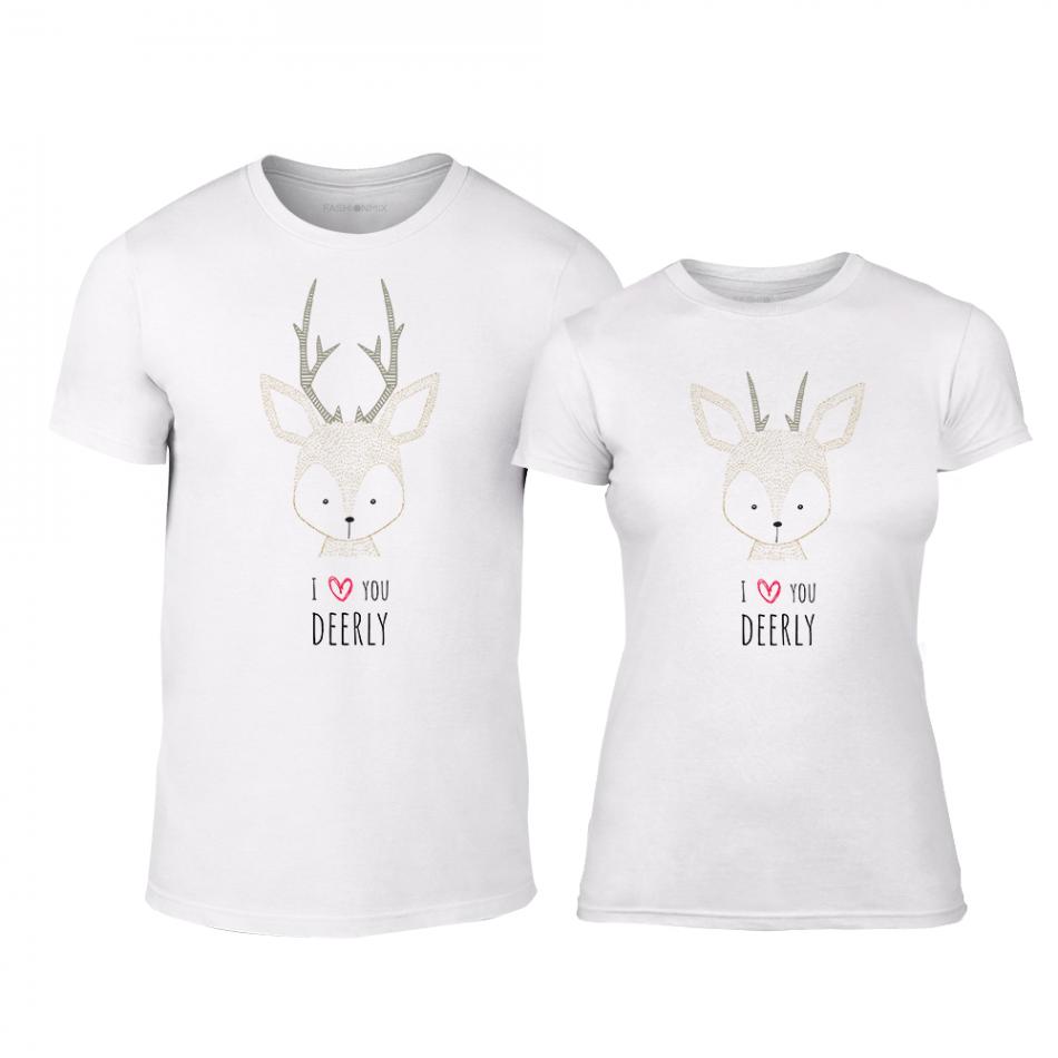 Μπλουζες για ζευγάρια Deerly λευκό TMN-CP-209