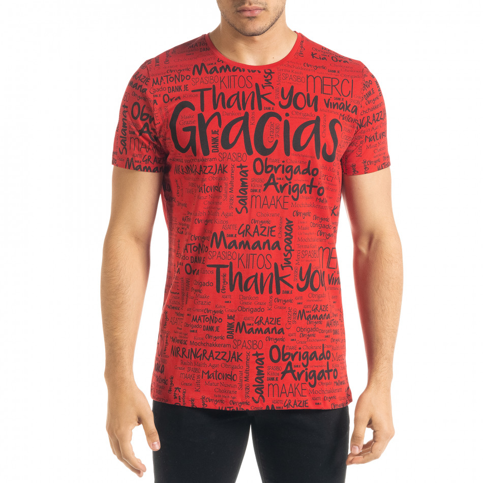 Ανδρική κόκκινη κοντομάνικη μπλούζα Lagos tr080520-34