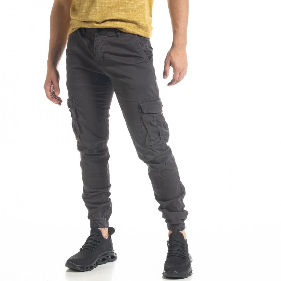 Ανδρικό γκρι παντελόνι Cargo Jogger tr240420-31