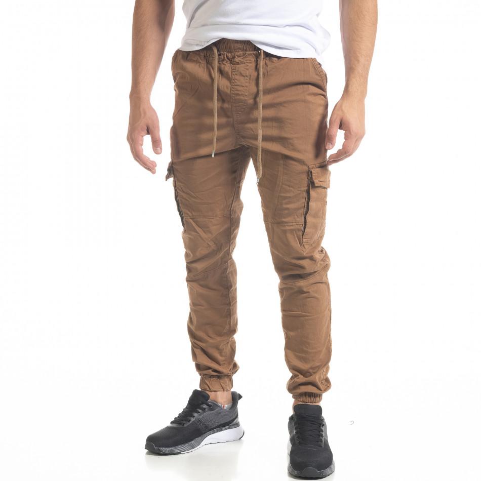 Ανδρικό παντελόνι Cargo Jogger σε χρώμα camel  tr240420-33