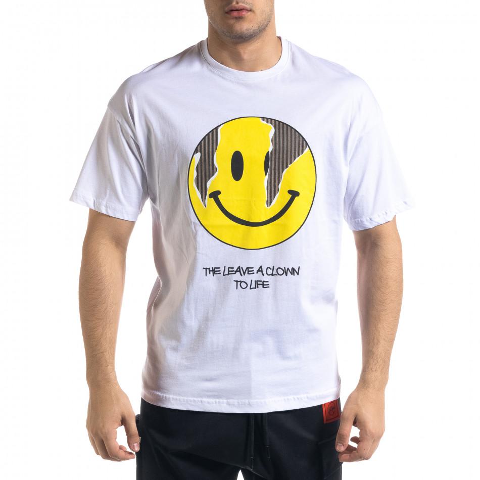 Ανδρική λευκή κοντομάνικη μπλούζα SAW tr110320-6
