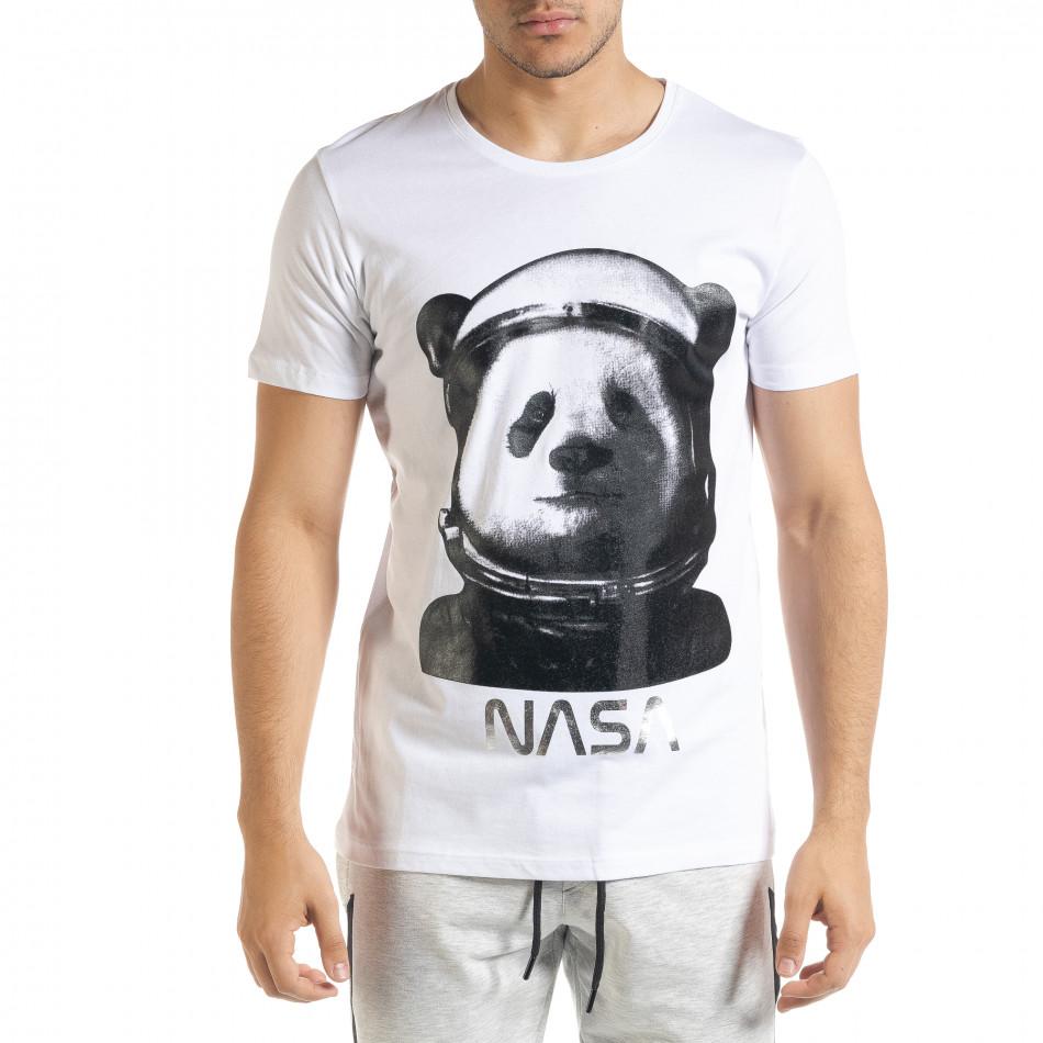 Ανδρική λευκή κοντομάνικη μπλούζα Panda tr080520-23
