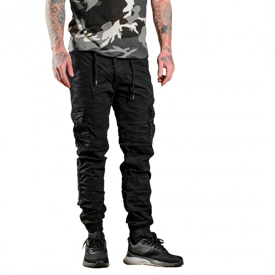 Ανδρικό μαύρο παντελόνι cargo Blackzi tr170320-2