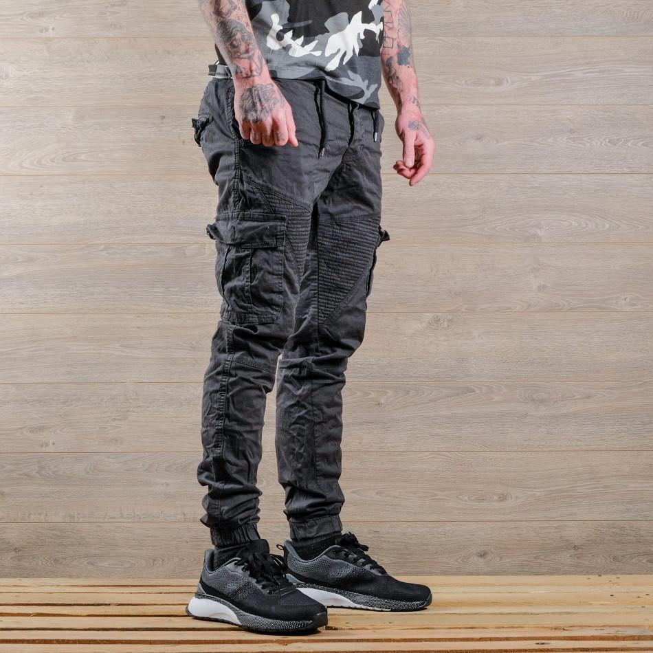 Ανδρικό γκρι παντελόνι cargo Blackzi tr170320-1