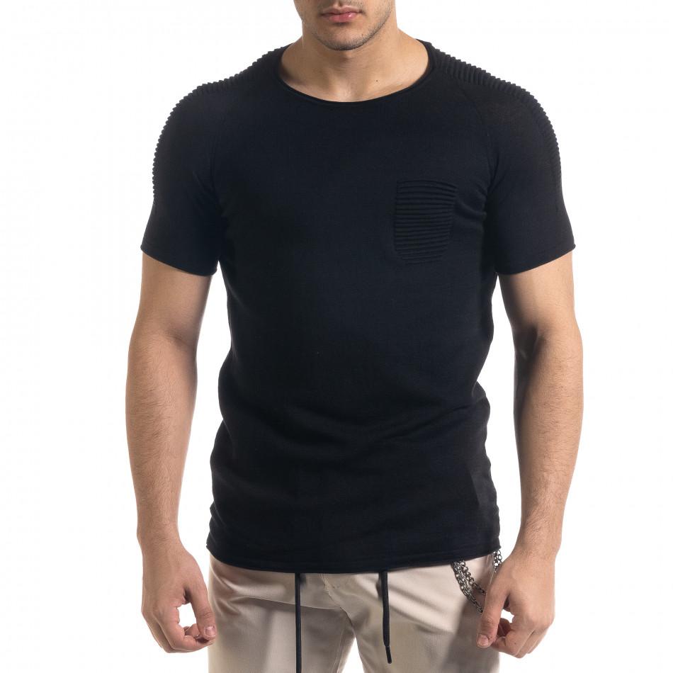 Ανδρική μαύρη κοντομάνικη μπλούζα Lagos tr110320-19