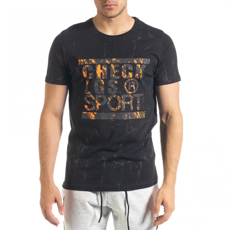 Ανδρική μαύρη κοντομάνικη μπλούζα Lagos tr080520-18