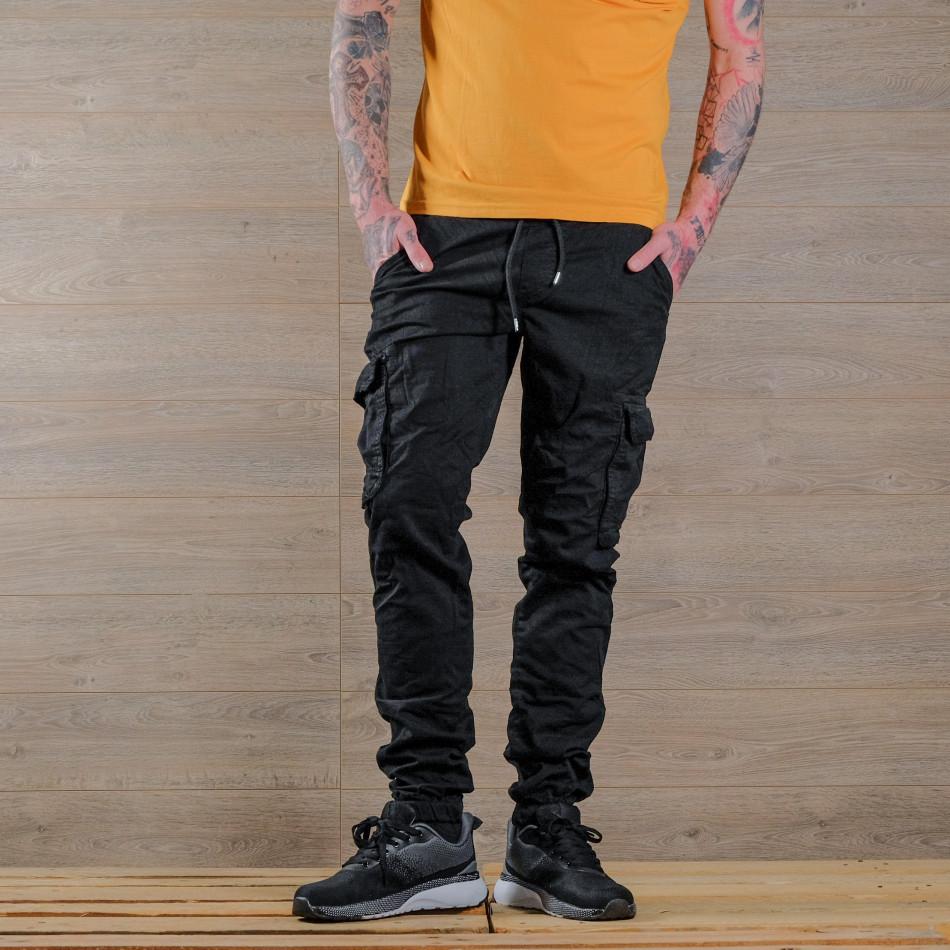 Ανδρικό μαύρο παντελόνι cargo Blackzi tr170320-5
