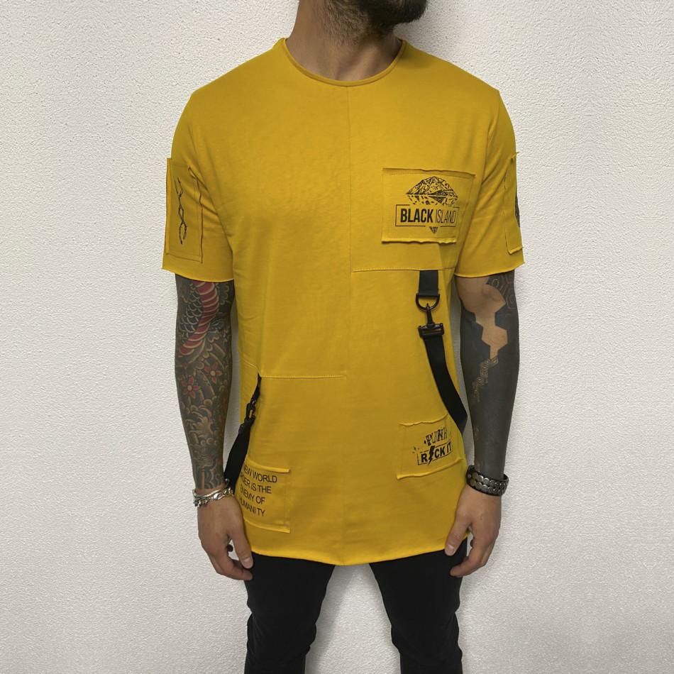 Ανδρική κίτρινη κοντομάνικη μπλούζα Black Island tr110320-82