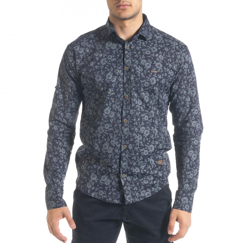 Ανδρικό γαλάζιο πουκάμισο Flyboys tr240420-36