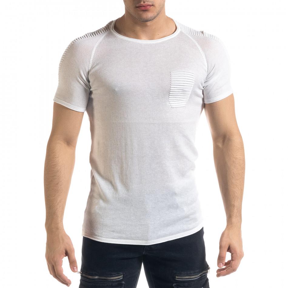 Ανδρική λευκή κοντομάνικη μπλούζα Lagos tr110320-20