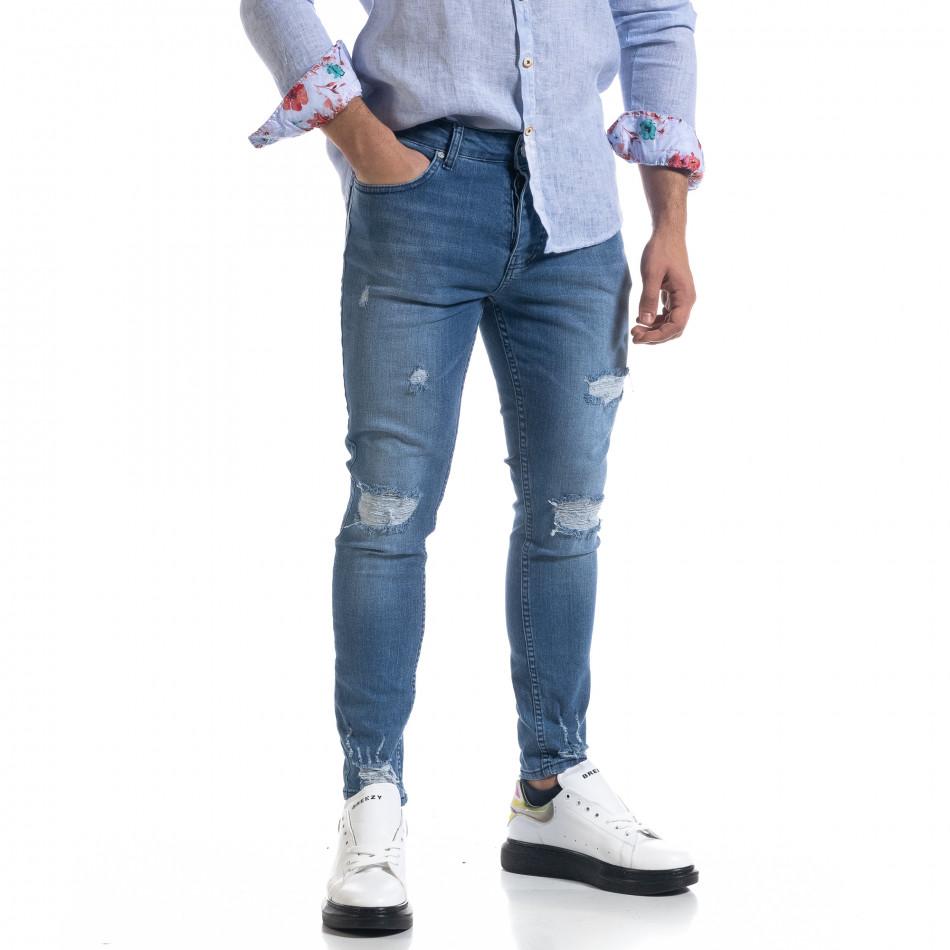 Ανδρικό μπλε τζιν Slim fit με σκισίματα tr110320-112