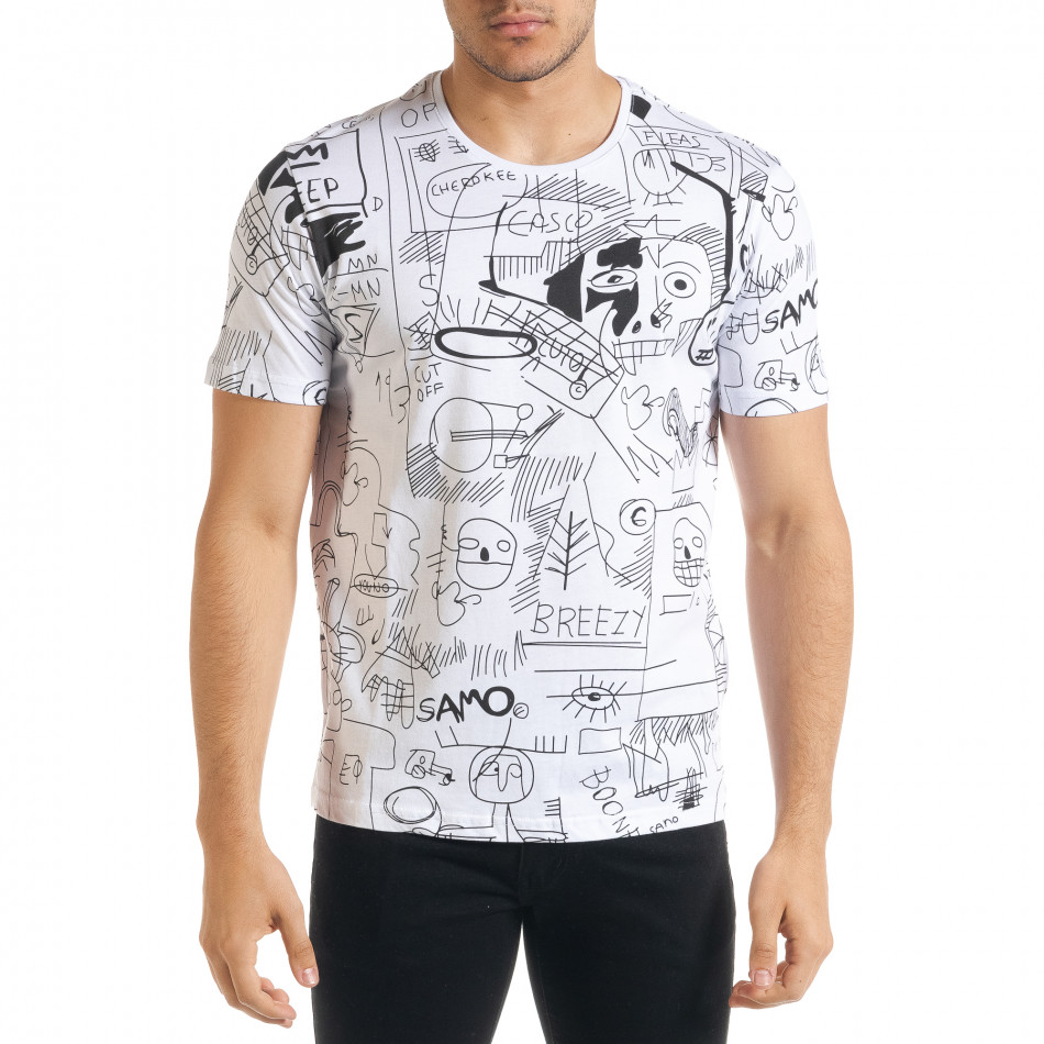 Ανδρική λευκή κοντομάνικη μπλούζα Breezy tr080520-14