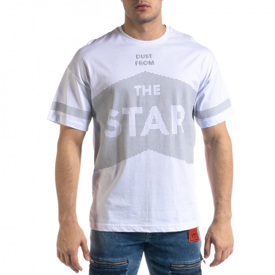 Ανδρική λευκή κοντομάνικη μπλούζα SAW tr110320-13