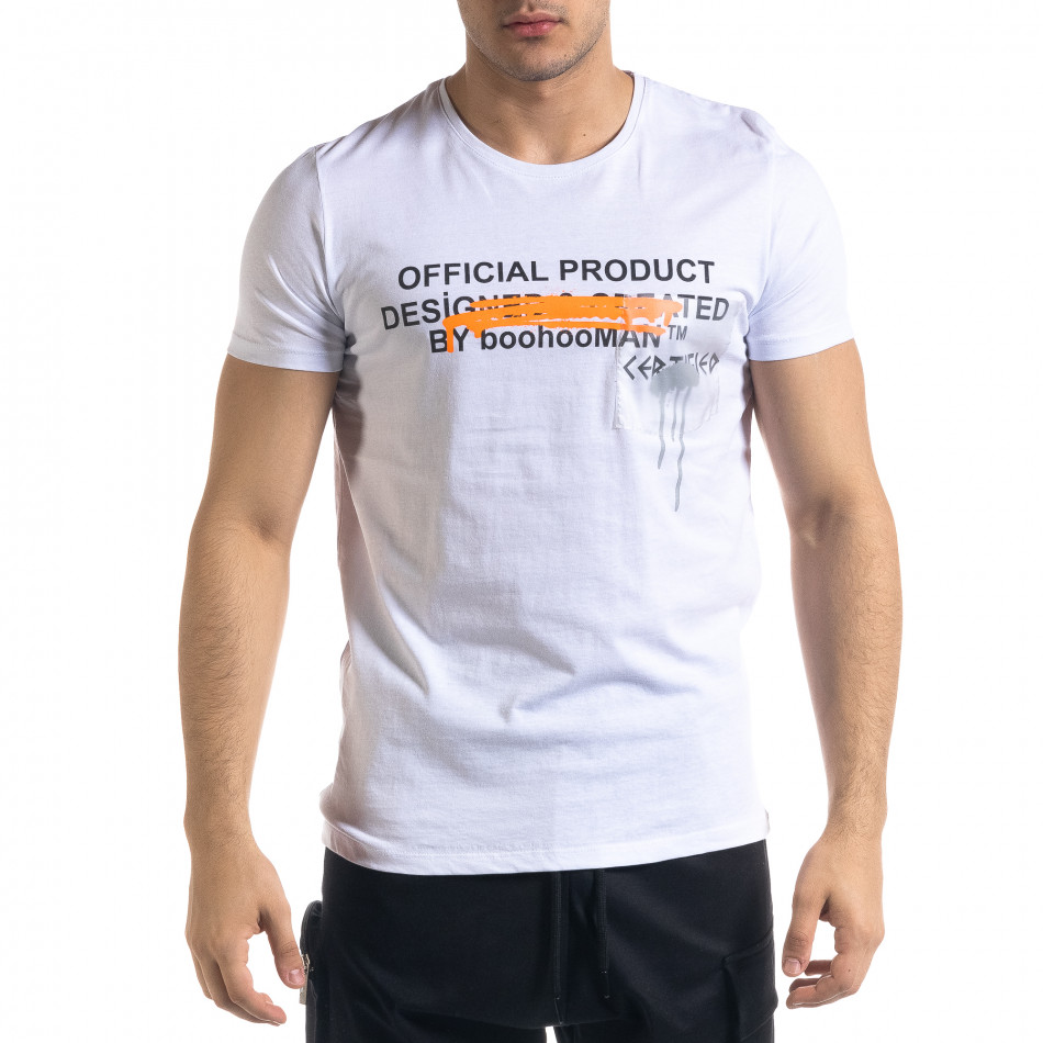 Ανδρική λευκή κοντομάνικη μπλούζα Lagos tr110320-30