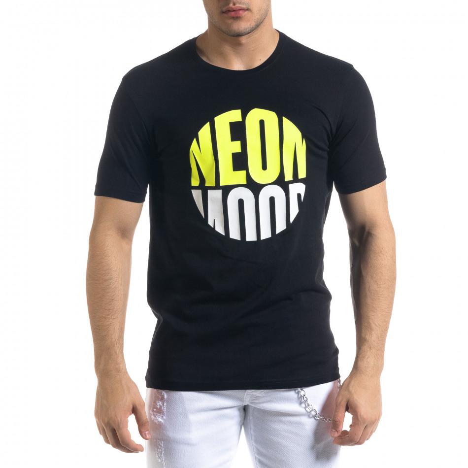 Ανδρική μαύρη κοντομάνικη μπλούζα Breezy tr110320-42
