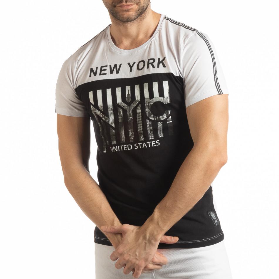 Ανδρική ασπρόμαυρη κοντομάνικη μπλούζα New York tsf190219-50