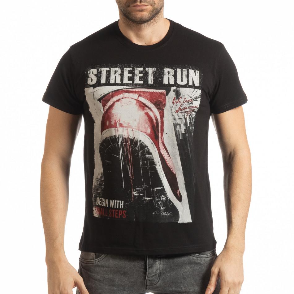 Ανδρική μαύρη κοντομάνικη μπλούζα Street Run tsf190219-83