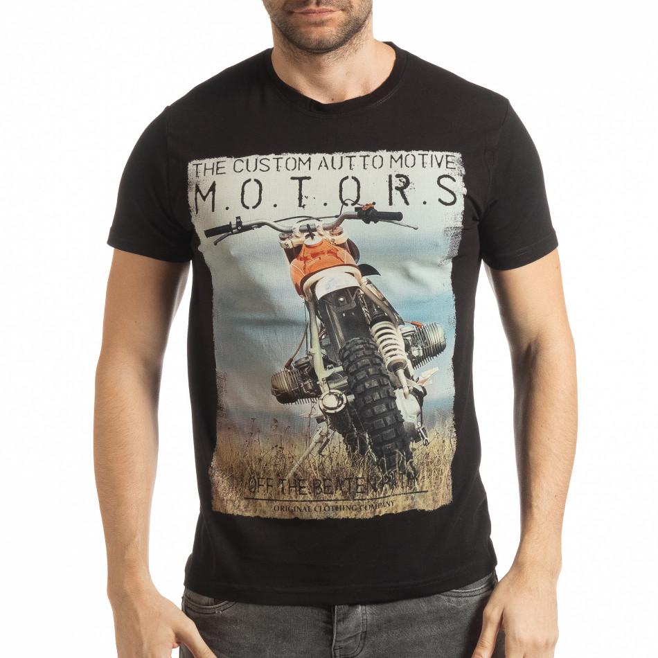 Ανδρική μαύρη κοντομάνικη μπλούζα με πριντ tsf190219-70