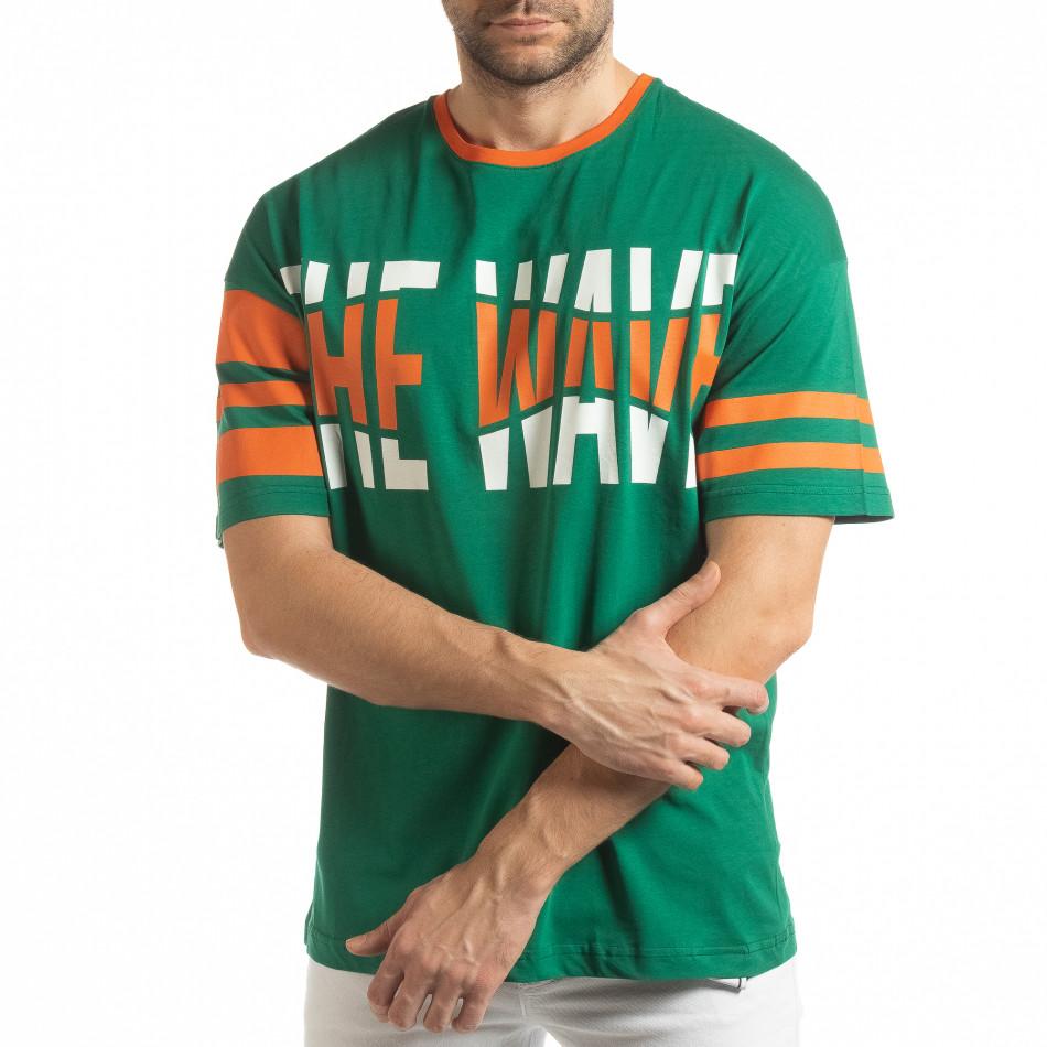 Ανδρική πράσινη κοντομάνικη μπλούζα The Wave tsf190219-38