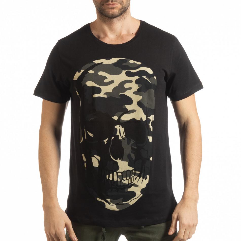 Ανδρική μαύρη κοντομάνικη μπλούζα με νεκροκεφαλή παραλλαγής tsf190219-6