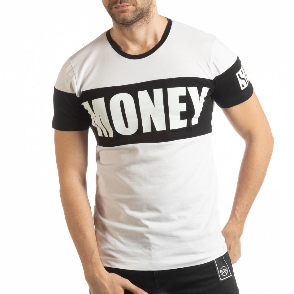 Ανδρική λευκή κοντομάνικη μπλούζα Money tsf190219-41