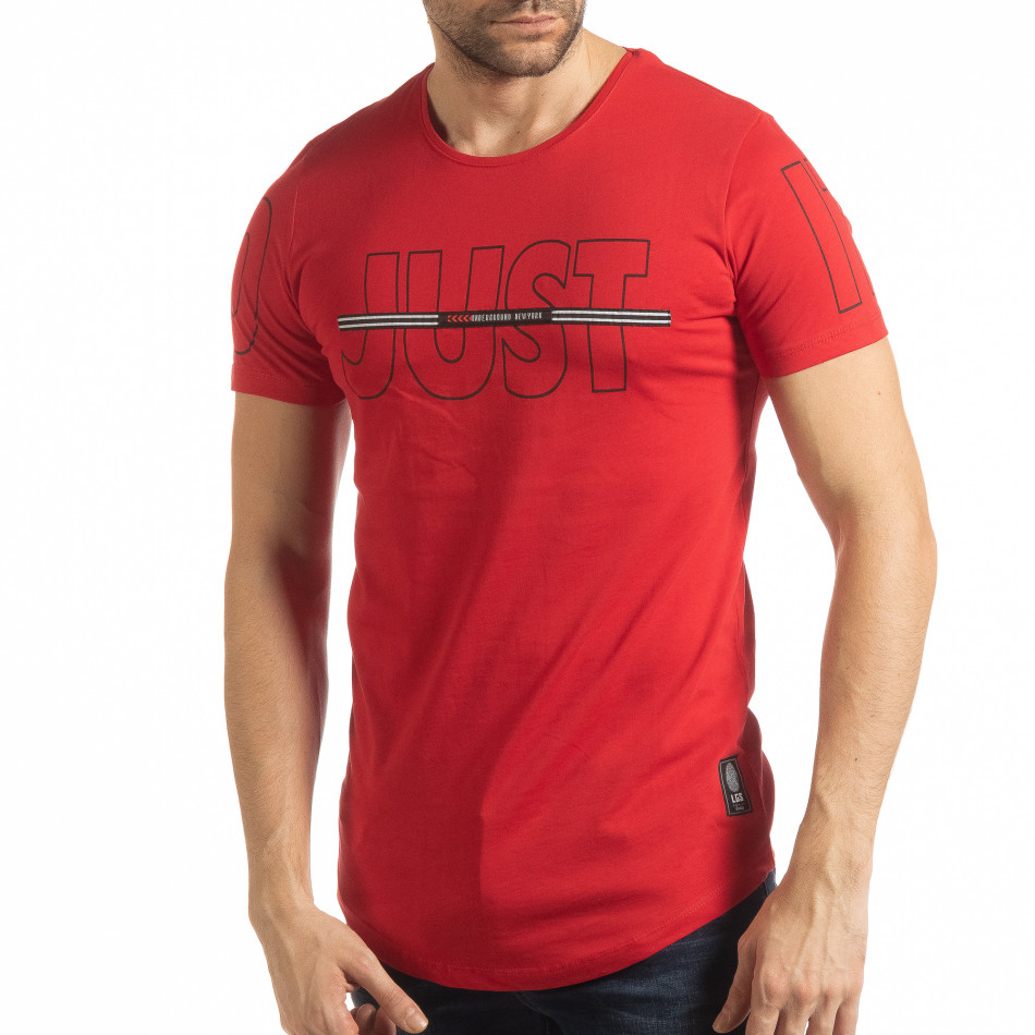 Ανδρική κόκκινη κοντομάνικη μπλούζα Just do it tsf190219-58