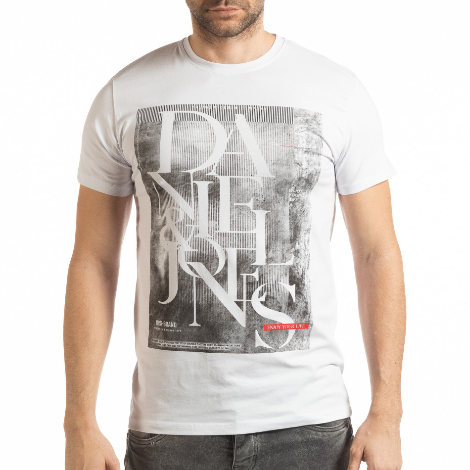 Ανδρική λευκή κοντομάνικη μπλούζα Denim Company tsf190219-85