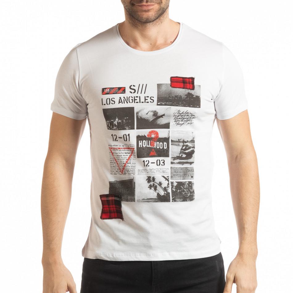 Ανδρική λευκή κοντομάνικη μπλούζα σε στυλ Patchwork tsf190219-57