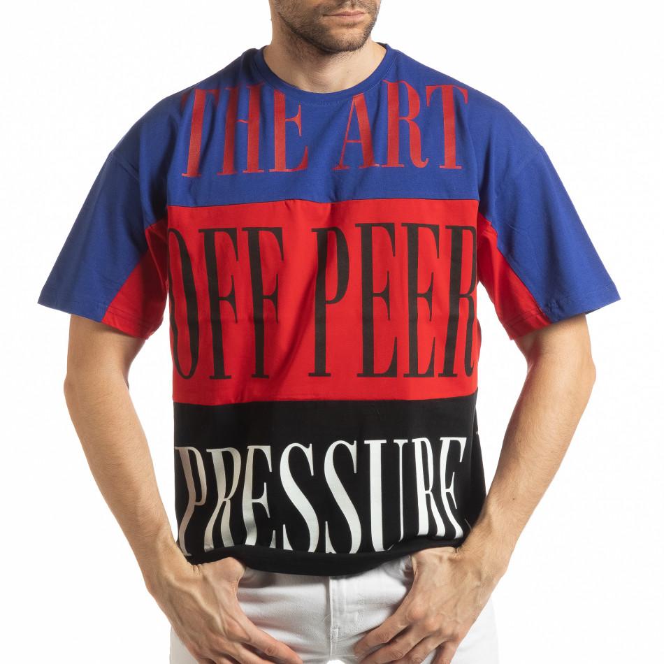 Ανδρική πολύχρωμη κοντομάνικη μπλούζα με μπλε, κόκκινο, μαύρο χρώμα tsf190219-29