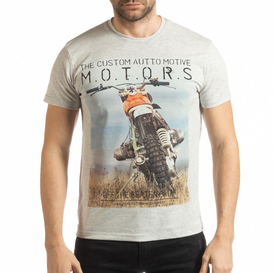 Ανδρική γκρι μελάνζ κοντομάνικη μπλούζα με πριντ tsf190219-71