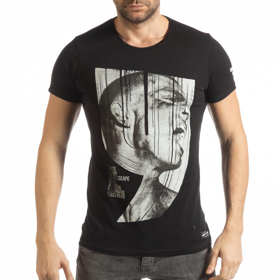 Ανδρική μαύρη κοντομάνικη μπλούζα με πριντ tsf190219-2