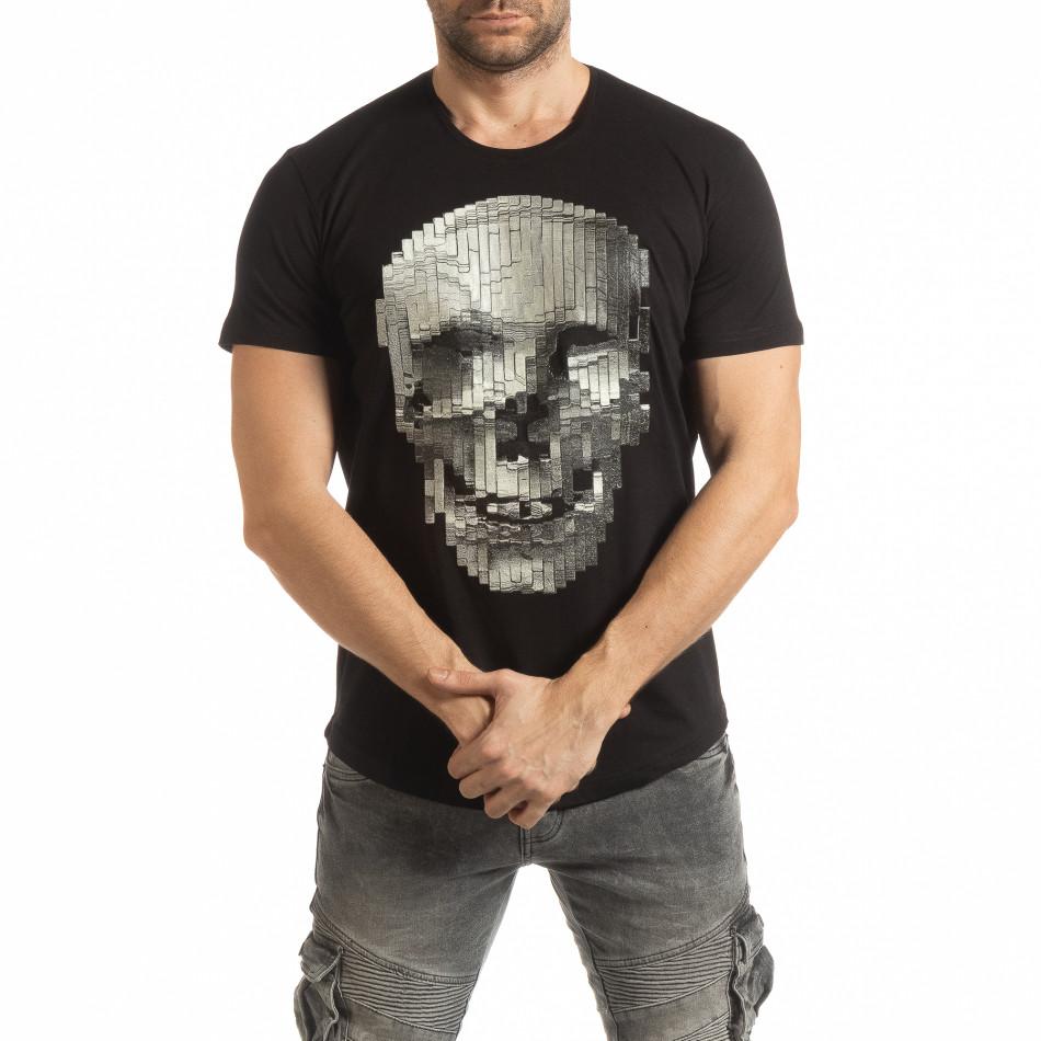 Ανδρική μαύρη κοντομάνικη μπλούζα με νεκροκεφαλή tsf190219-22