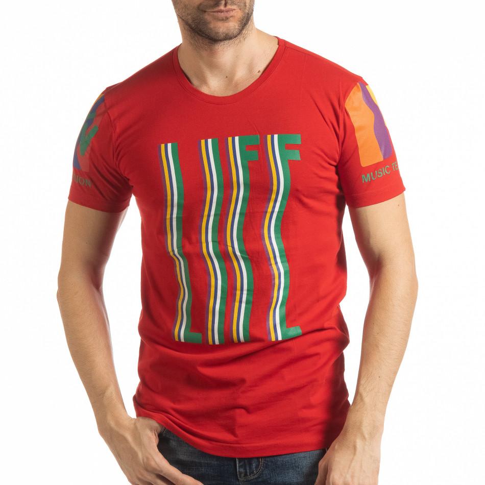Ανδρική κόκκινη κοντομάνικη μπλούζα MTV Life tsf190219-34