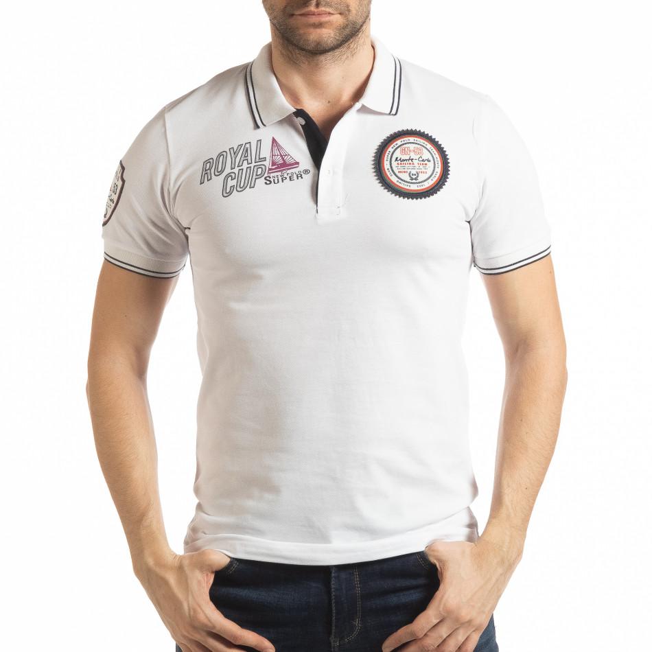 Ανδρική λευκή κοντομάνικη polo shirt Royal cup tsf190219-91