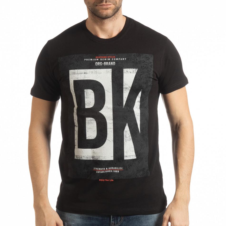Ανδρική μαύρη κοντομάνικη μπλούζα BK tsf190219-72
