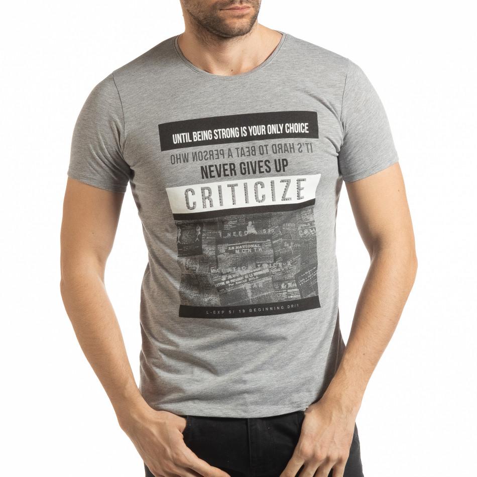 Ανδρική γκρι κοντομάνικη μπλούζα Criticize tsf190219-61