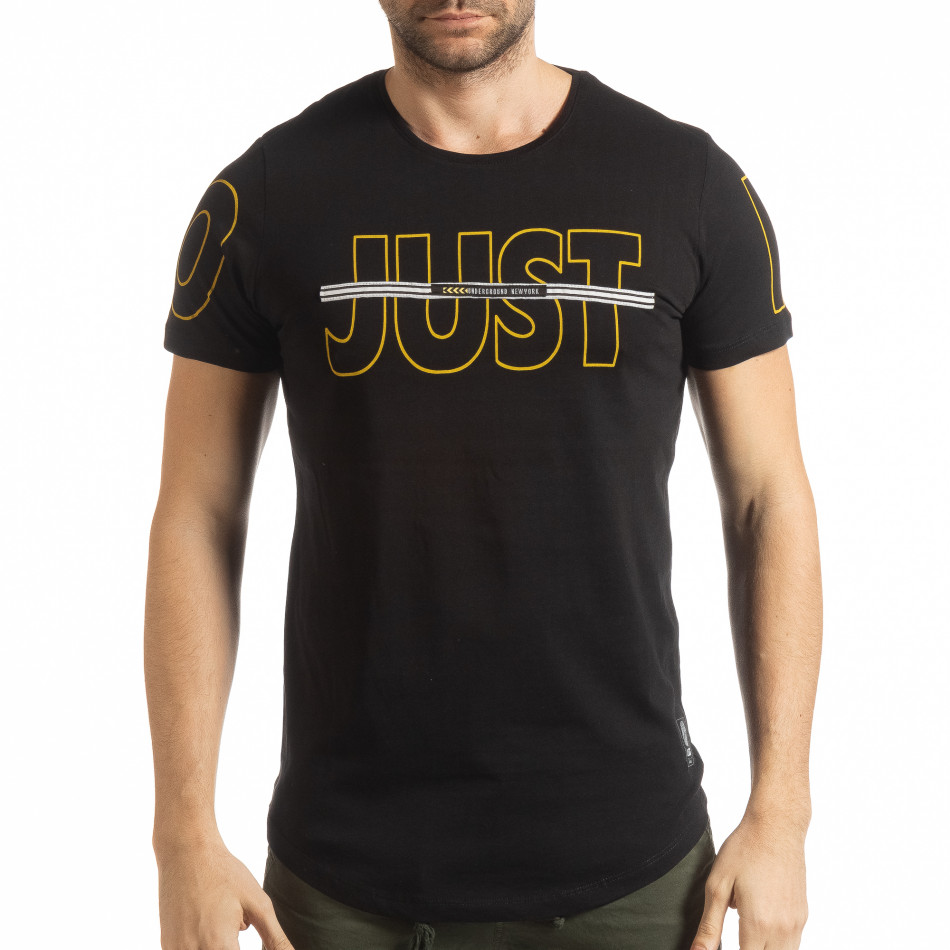 Ανδρική μαύρη κοντομάνικη μπλούζα Just do it tsf190219-59