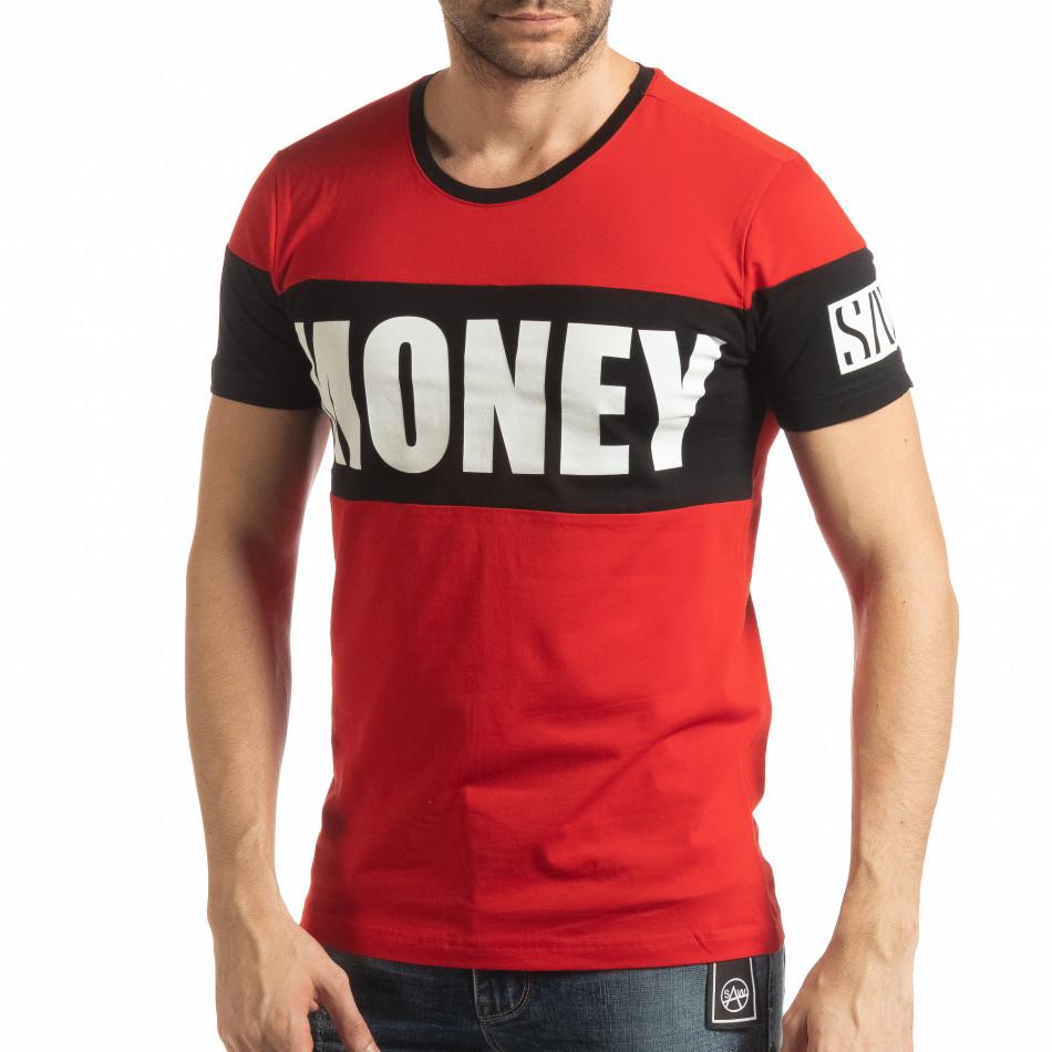 Ανδρική κόκκινη κοντομάνικη μπλούζα Money tsf190219-43