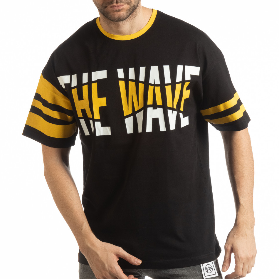Ανδρική μαύρη κοντομάνικη μπλούζα The Wave tsf190219-37