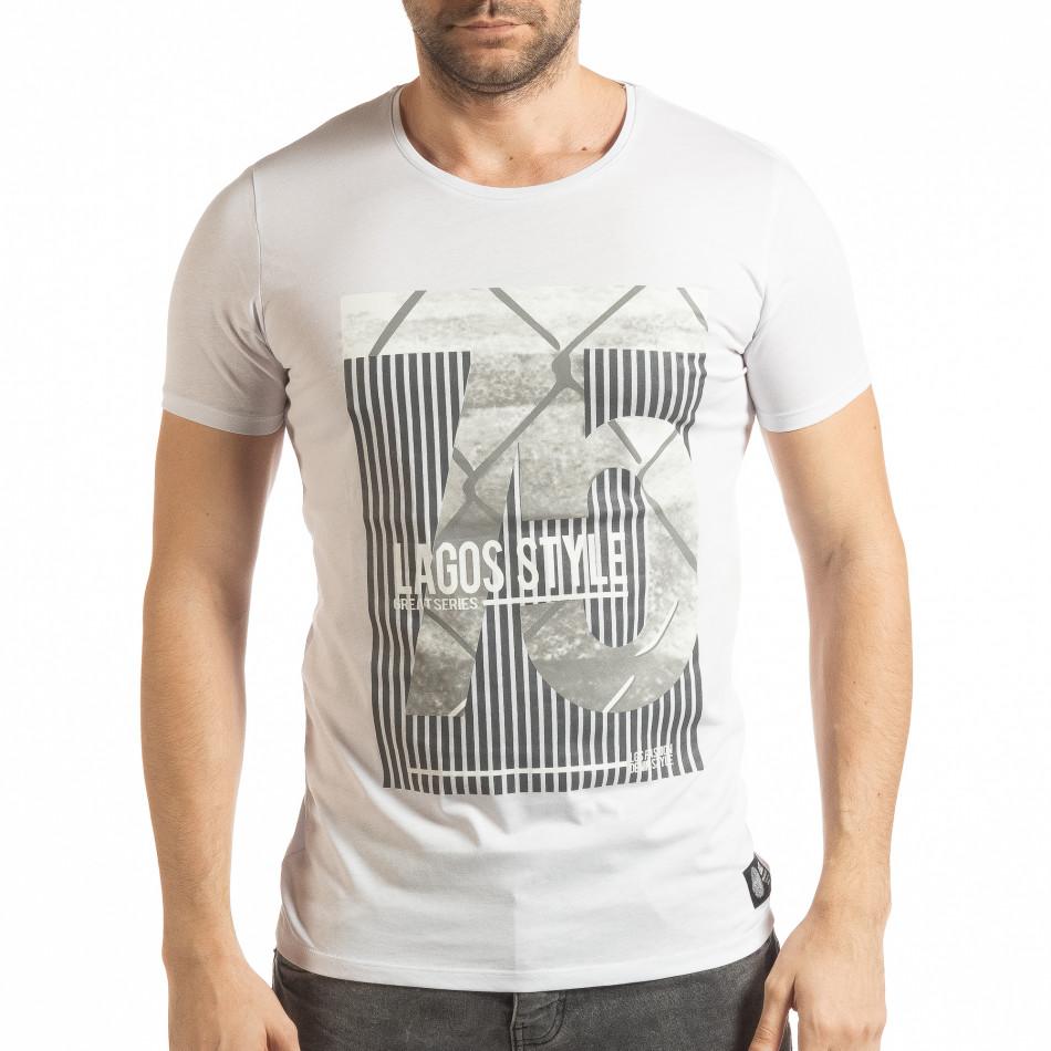 Ανδρική λευκή κοντομάνικη μπλούζα με πριντ Lagos Style  tsf190219-55