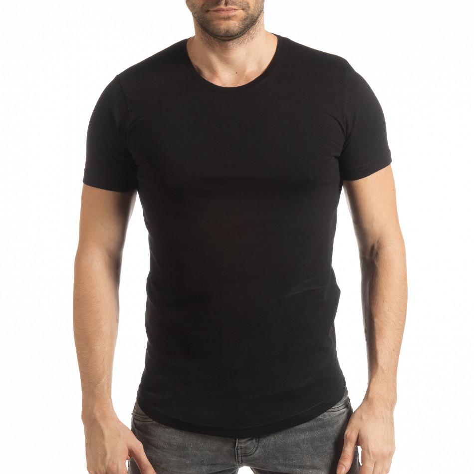 Basic ανδρική μαύρη κοντομάνικη μπλούζα  tsf190219-49