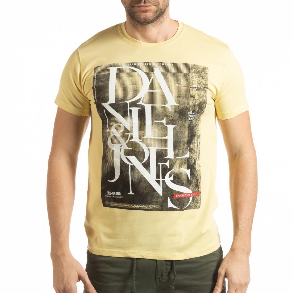 Ανδρική κίτρινη κοντομάνικη μπλούζα Denim Company tsf190219-87