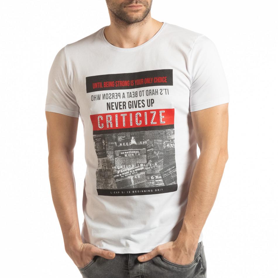 Ανδρική λευκή κοντομάνικη μπλούζα Criticize tsf190219-63
