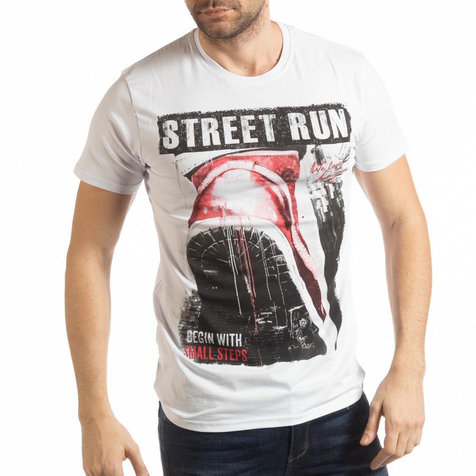 Ανδρική λευκή κοντομάνικη μπλούζα  Street Run tsf190219-82