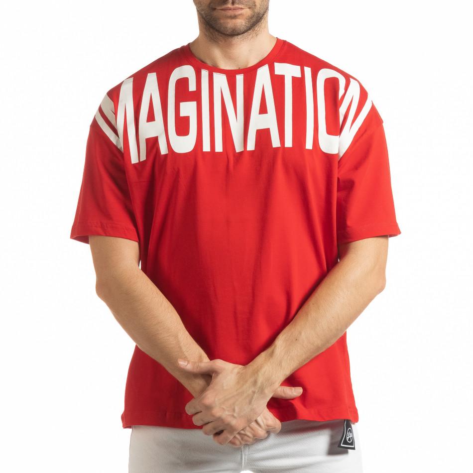 Ανδρική κόκκινη κοντομάνικη μπλούζα Imagination tsf190219-31