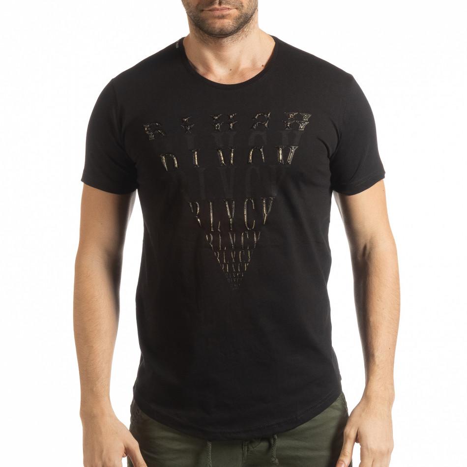 Ανδρική μαύρη κοντομάνικη μπλούζα με πριντ tsf190219-13