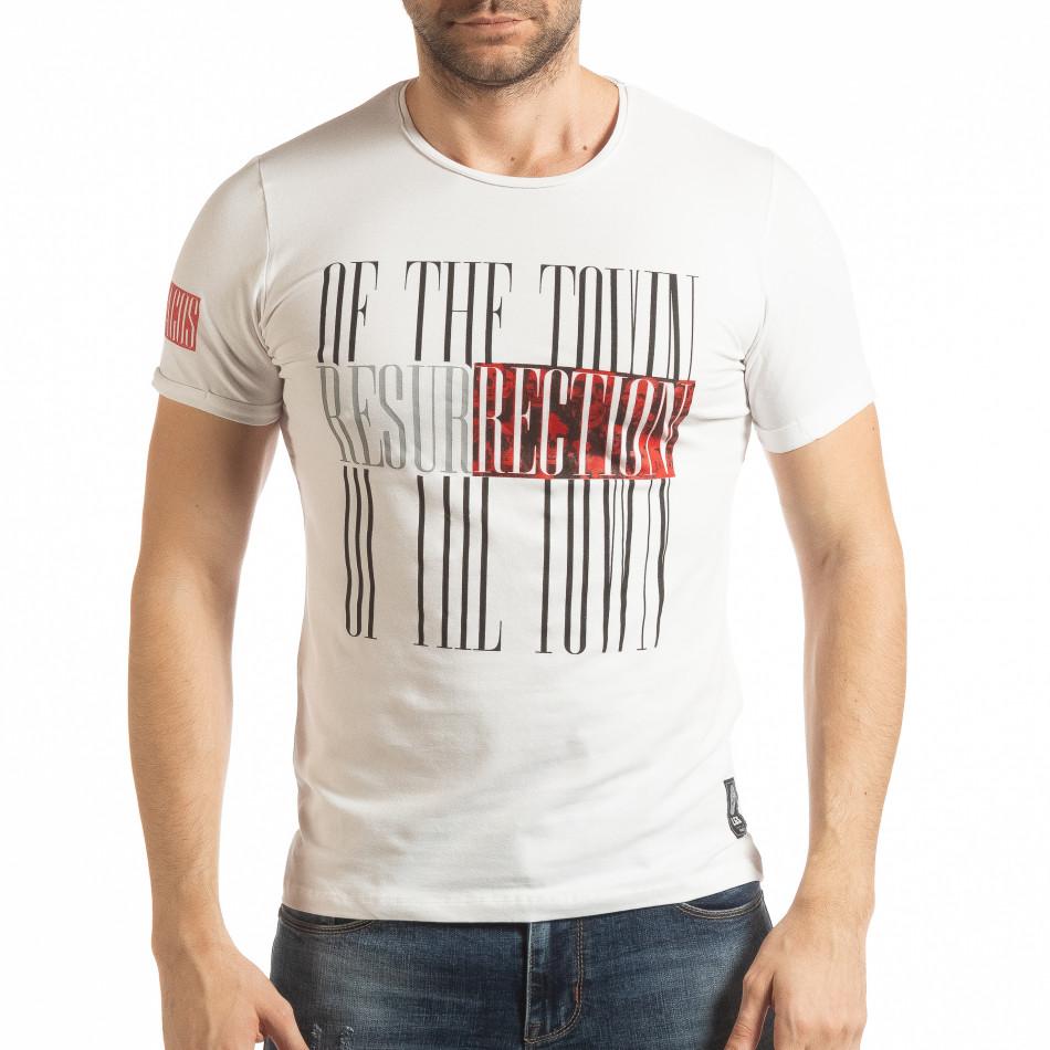 Ανδρική λευκή κοντομάνικη μπλούζα Resurrection tsf190219-53