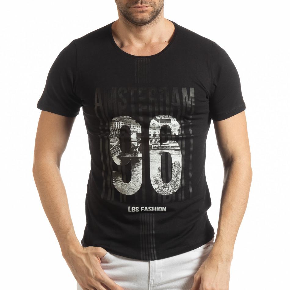 Ανδρική μαύρη κοντομάνικη μπλούζα Amsterdam 96 tsf190219-1