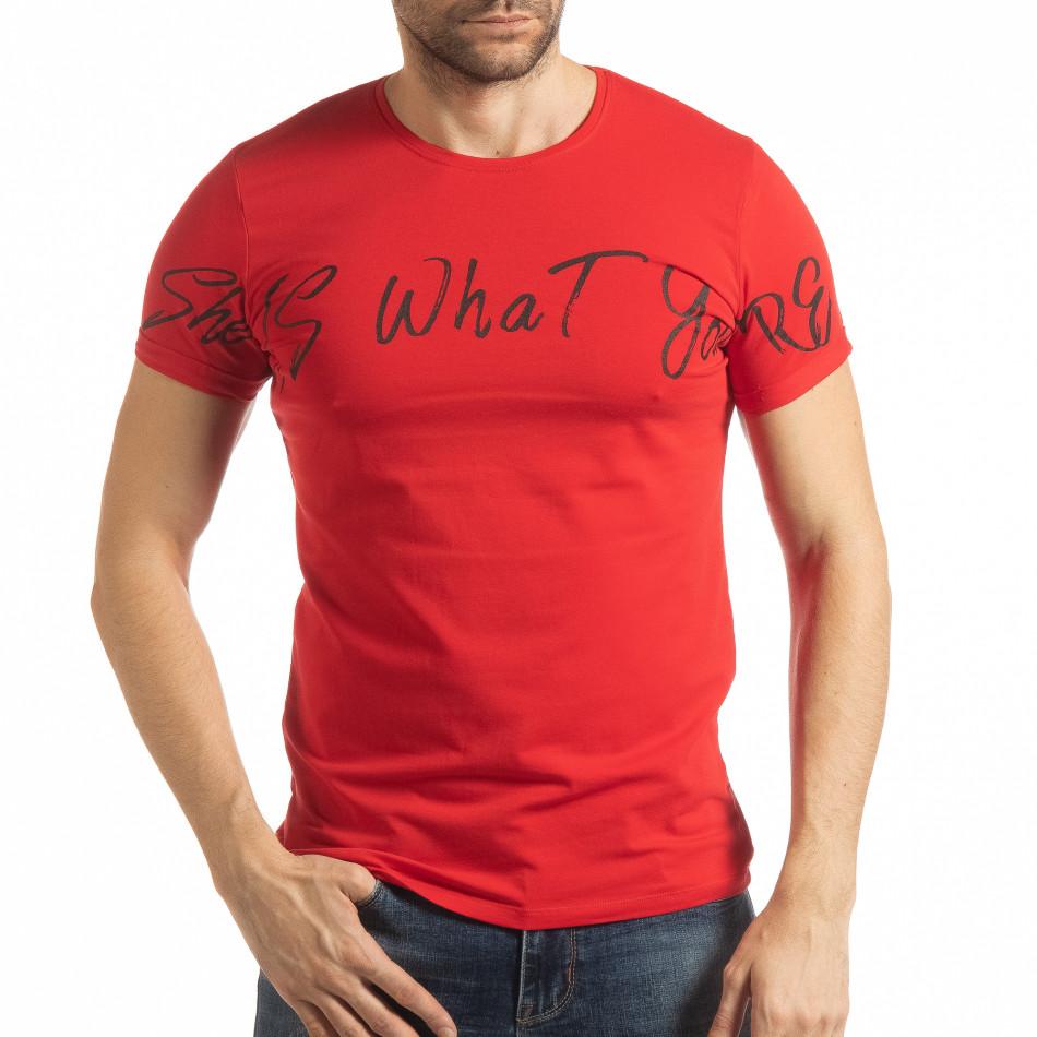 Ανδρική κόκκινη κοντομάνικη μπλούζα She is What tsf190219-64